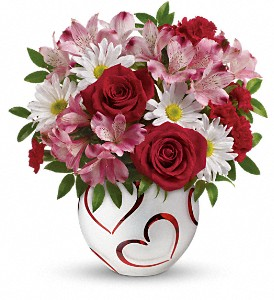 Teleflora's Happy Hearts Bouquet in Muskegon MI, Barry's Flower Shop