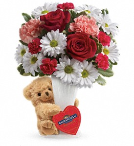 Teleflora's Send a Hug Bear Your Heart Bouquet in The Woodlands TX, Rainforest Flowers