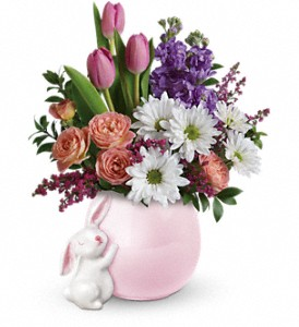 Teleflora's Send a Hug Bunny Love Bouquet in The Woodlands TX, Rainforest Flowers