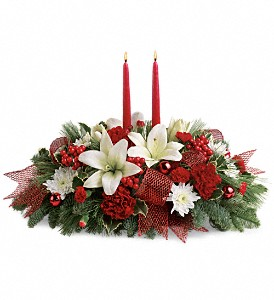 Yuletide Magic Centerpiece in Fort Worth TX, Mount Olivet Flower Shop