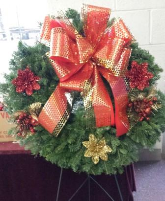 Red & Gold Wreath in Westland MI, Westland Florist & Greenhouse