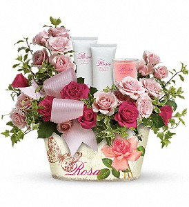 Teleflora's Everything Rosy Gift Bouquet in The Woodlands TX, Rainforest Flowers