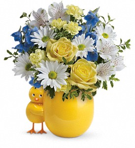 Teleflora's Sweet Peep Bouquet - Baby Blue in Charleston WV, Food Among The Flowers