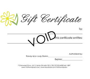 Flower Place Gift Certificate in Barrie ON, The Flower Place