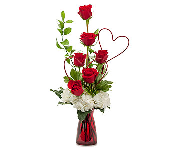 Two Hearts on Fire in Mount Morris MI, June's Floral Company & Fruit Bouquets