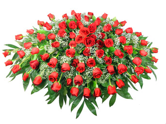 Red Rose Casket Spray in Indianapolis IN, Steve's Flowers & Gifts