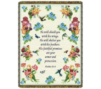 Psalms 91:4 Hummingbird Tapestry Throw in Johnstown PA, Schrader's Florist & Greenhouse, Inc