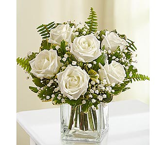 6 White Roses in Cube in Palm Desert CA, Milan's Flowers & Gifts