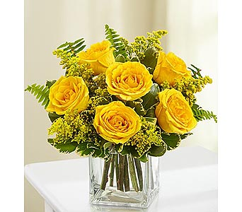 6 Yellow Roses in Cube in Palm Desert CA, Milan's Flowers & Gifts