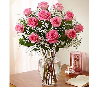 12 Premium Long Stem Roses - Pink in Palm Desert CA, Milan's Flowers & Gifts