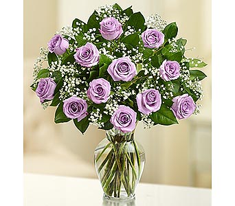 12 Premium Long Stem Roses - Purple in Palm Desert CA, Milan's Flowers & Gifts