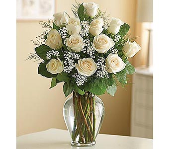 12 Premium Long Stem Roses - White in Palm Desert CA, Milan's Flowers & Gifts