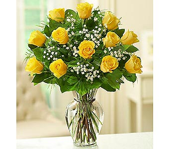 12 Premium Long Stem Roses - Yellow in Palm Desert CA, Milan's Flowers & Gifts