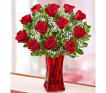 12 Red Premium Long Stem Roses in Red Vase in Palm Desert CA, Milan's Flowers & Gifts