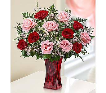 12 Red-Pink Premium Long Stem Roses in Red Vase in Palm Desert CA, Milan's Flowers & Gifts