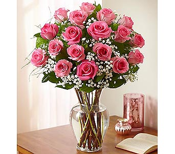 18 Premium Long Stem Roses - Pink in Palm Desert CA, Milan's Flowers & Gifts