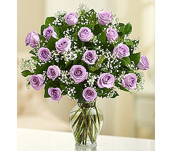 18 Premium Long Stem Roses - Purple in Palm Desert CA, Milan's Flowers & Gifts