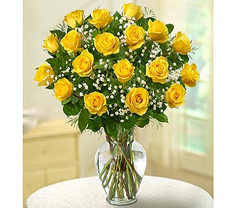 18 Premium Long Stem Roses - Yellow in Palm Desert CA, Milan's Flowers & Gifts