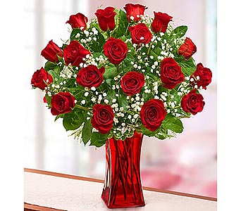 18 Red Premium Long Stem Roses in Red Vase in Palm Desert CA, Milan's Flowers & Gifts