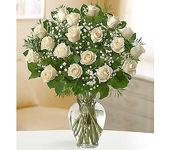 24 Premium Long Stem Roses - White in Palm Desert CA, Milan's Flowers & Gifts