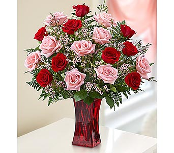 24 Red-Pink Premium Long Stem Roses in Red Vase in Palm Desert CA, Milan's Flowers & Gifts