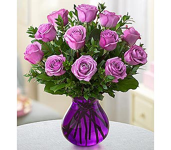 Rose Romance Purple Vase - 12 Purple in Palm Desert CA, Milan's Flowers & Gifts
