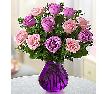 Rose Romance Purple Vase - 12 Purple-Pink in Palm Desert CA, Milan's Flowers & Gifts