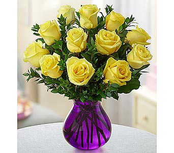 Rose Romance Purple Vase - 12 Yellow in Palm Desert CA, Milan's Flowers & Gifts