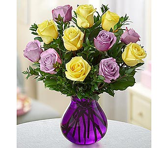Rose Romance Purple Vase - 12 Yellow-Purple in Palm Desert CA, Milan's Flowers & Gifts