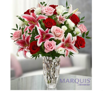 Marquis by Waterford� Red Rose and Lily Bouquet in Watertown CT, Agnew Florist