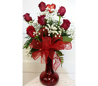 Half Dozen Roses Valentine Style in Fincastle VA, Cahoon's Florist and Gifts