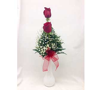 Red Roses in a Bud Vase in Titusville FL, Floral Creations By Dawn