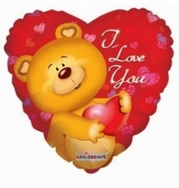 I Love You Teddy Bear Jumbo Mylar 36 in Chicago IL, Yera's Lake View Florist
