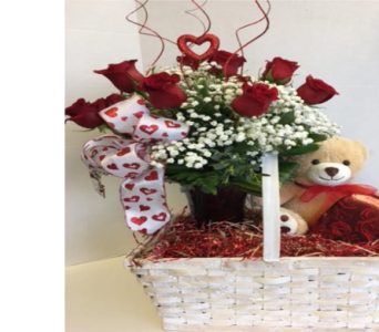 Roses, Chocolates & Bear in Meriden CT, Rose Flowers & Gifts