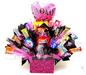 CB293  �Hot Pink Hugs & Kisses� Candy Bouquet in Oklahoma City OK, Array of Flowers & Gifts