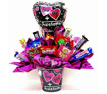 CB294  �You Me=Awesome�  Candy Bouquet in Oklahoma City OK, Array of Flowers & Gifts