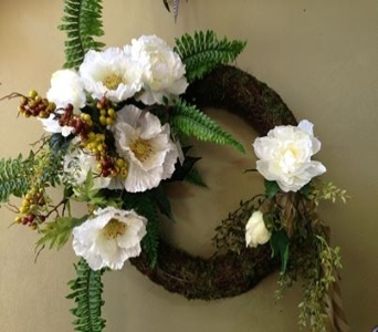 Peach Wreath in Ambridge PA, Heritage Floral Shoppe