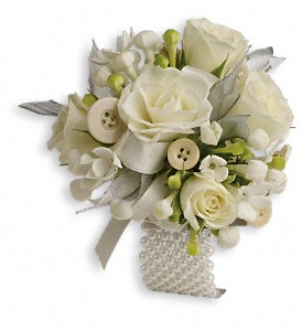 All Buttoned Up Corsage in White Stone VA, Country Cottage
