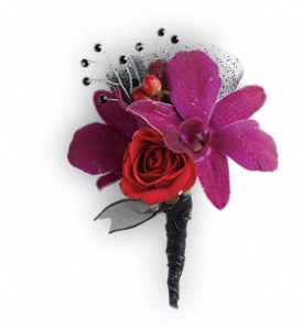 Celebrity Style Boutonniere in Vancouver BC, Purple Rainbow Florist