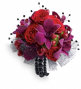 Celebrity Style Corsage in Manchester NH, Celeste's Flower Barn