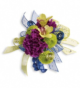 Evening Electric Corsage in Purcell OK, Alma's Flowers, LLC