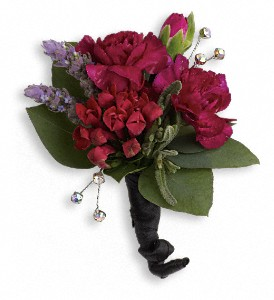 Red Carpet Romance Boutonniere in Lewiston ME, Val's Flower Boutique, Inc.