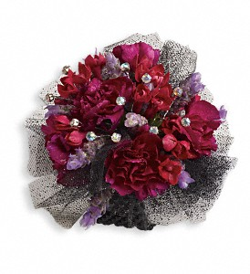 Red Carpet Romance Corsage in Hilton NY, Justice Flower Shop