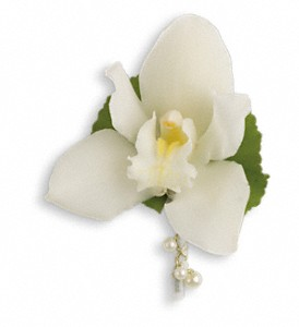 Shimmering Pearls Boutonniere in Morgantown WV, Galloway's Florist, Gift, & Furnishings, LLC