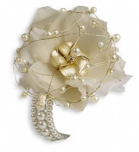 Shimmering Pearls Corsage in Patchogue NY, Mayer's Flower Cottage