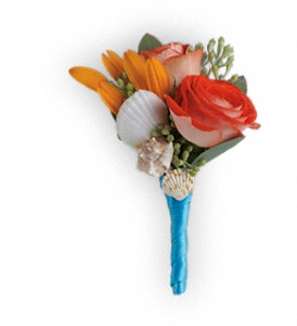 Sunset Magic Boutonniere in Hilton NY, Justice Flower Shop