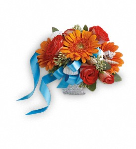 Sunset Magic Corsage in Lewiston ME, Val's Flower Boutique, Inc.