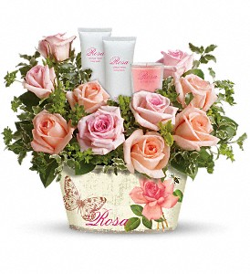 Teleflora's Rosy Delights Gift Bouquet in The Woodlands TX, Rainforest Flowers