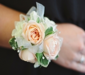 Blush Wrist Corsage in Midwest City OK, Penny and Irene's Flowers & Gifts
