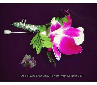 Orchid and Rose Dazzler Boutonniere in Auburn ME, Ann's Flower Shop